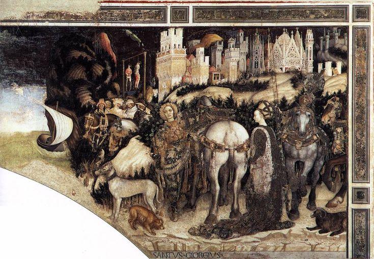 by PISANELLO St George and the Princess of Trebizond (right side) 1436-38 Fresco Pellegrini Chapel, Sant'Anastasia, Verona