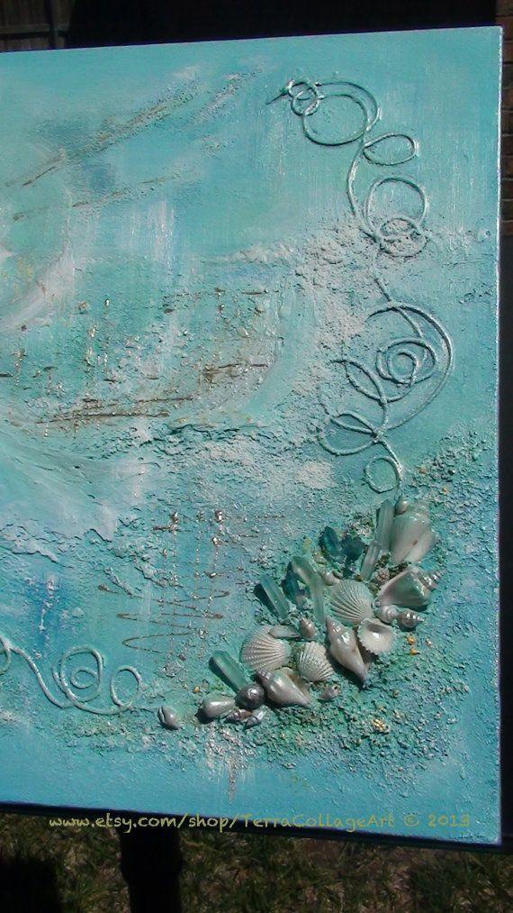 Ocean Dream 16x16x11/5  Original Mixed Media by TerraCollageArt: