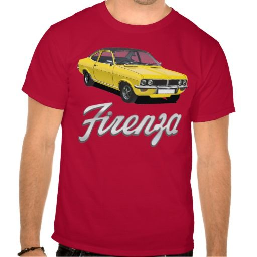 Vauxhall Firenza yellow, black roof with text #vauxhall #firenza #vauxhallfirenza #automobile #tshirt #tshirts #70s #classic #red