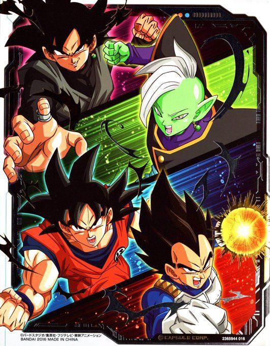 Vegeta, Goku, Black Goku, and Zamasu