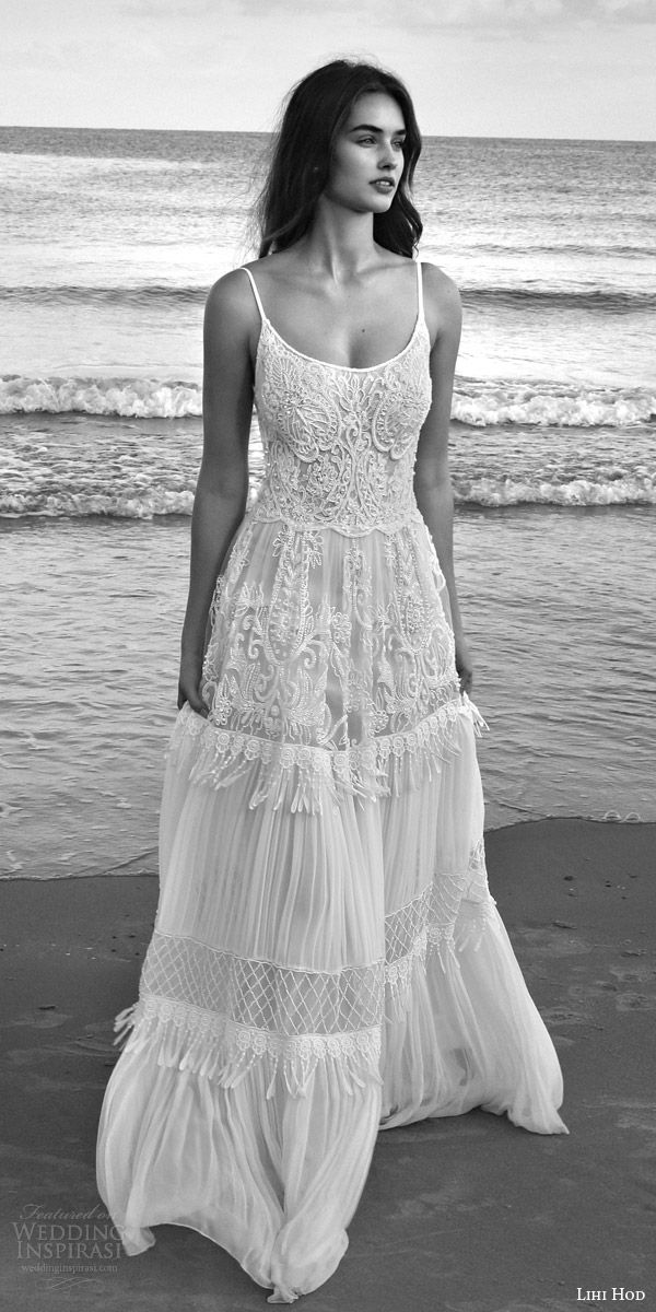 LIHI HOD #bridal 2016 lilo sleeveless bohemian #wedding dress straps embroidered bodice pleated skirt lattice bead fringe