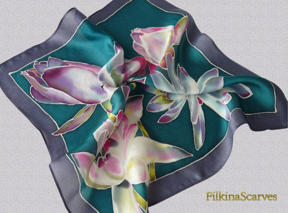 Lilies SILK Pocket Square Hand Painted Hanky Pocket Square Handkerchief gifts for him Fathers gift Handpainted floral pocket square 43x43 ►15% - Coupon Code - for old buyers! SILK Pocket Square bordered with dark grey-purple color and painted Water Lilies - on dark petroleum