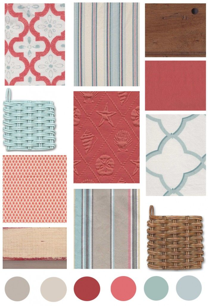 decorating coastal color blue coral | The Distinctive Cottage | Color Board: Coral & Aqua | The Distinctive ...