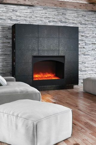 This ventless electric fireplace with a lovely, contemporary arched steel  surround is sure to create a beautiful focal point in any room.