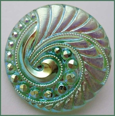 """Old Antique Vintage Iridescent Czech Glass Button w Lovely Design 1 1 16"""""""