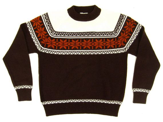 Vintage Fair Isle Sweater Nordic Pullover Brown by ApparelVintage ...