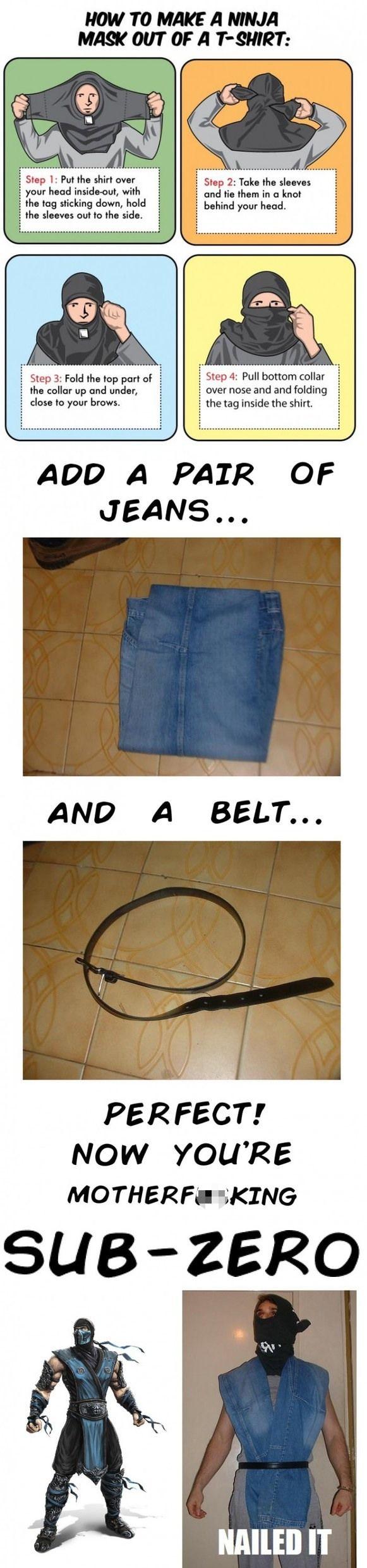Il suffit de pas grand chose pour se fabriquer un cosplay Sub-Zero. Un brin d'imagination, un tee-shirt noir, un jean et une ceinture