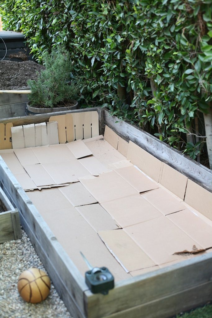 Using Cardboard in Raised Garden Beds to keep roots OUT! Ingenious!!
