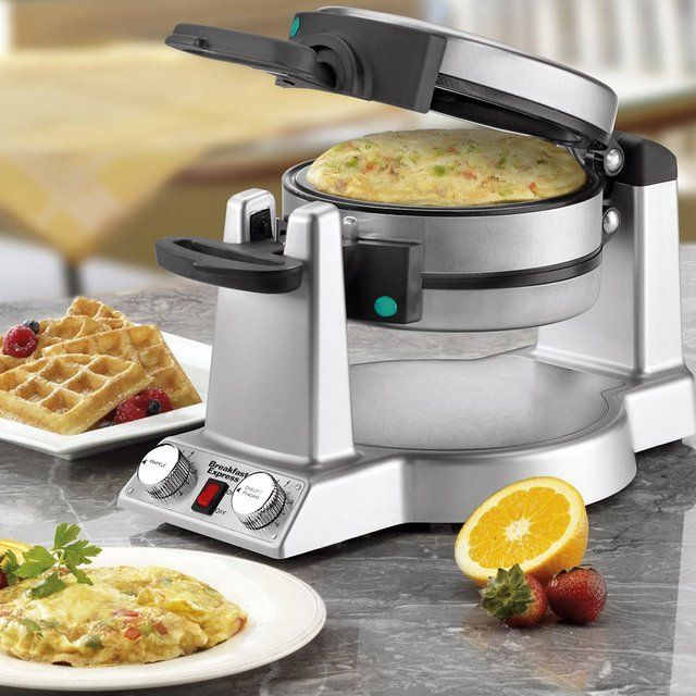 Cuisinart waffle and omelette grill. Simply load your ingredients in one side, close, flip and load ingredients in the other side. In a few minutes you've got breakfast for two!