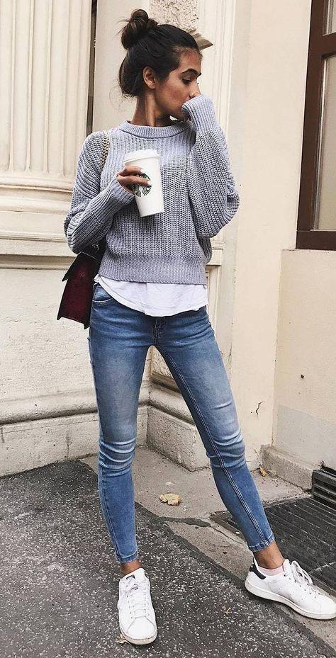 Grey sweater, white top, skinny jeans, white tennies, burgundy crossbody bag