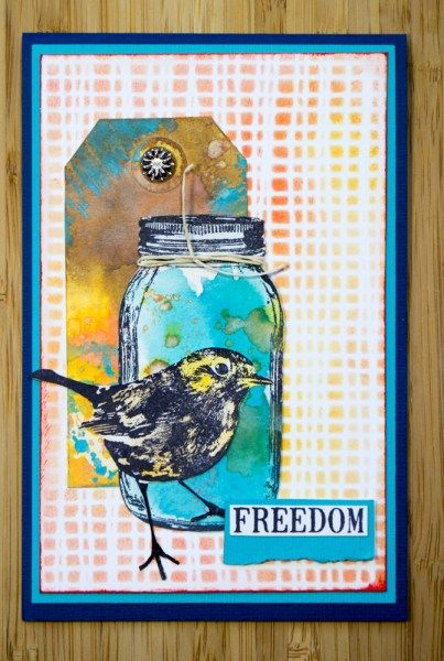 Card by Robyn Wood using Darkroom Door Mesh stencil, Robin and Mason Jar Eclectic Stamps.