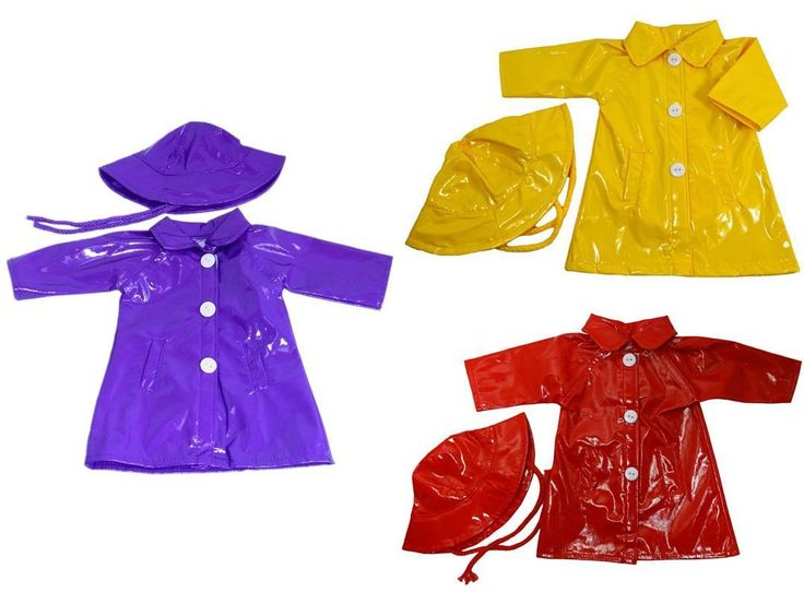 At least with these colourful rain coats your doll will keep dry in all this rain we are having at the moment.  https://www.rosiesdollsclothes.com.au/shop/girl-doll-clothes/american-girl/summer-fashion-5/rain-coat-hat-purple-red-or-yellow