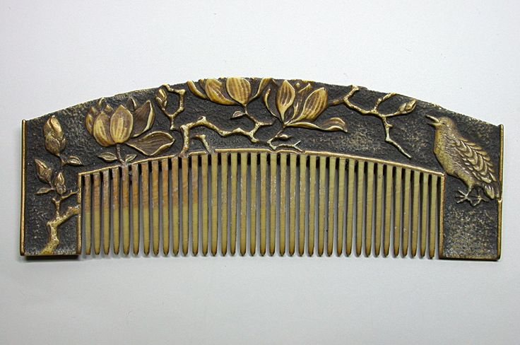 Kushi Nightingale And Lotus Flower Hair Comb Carved And