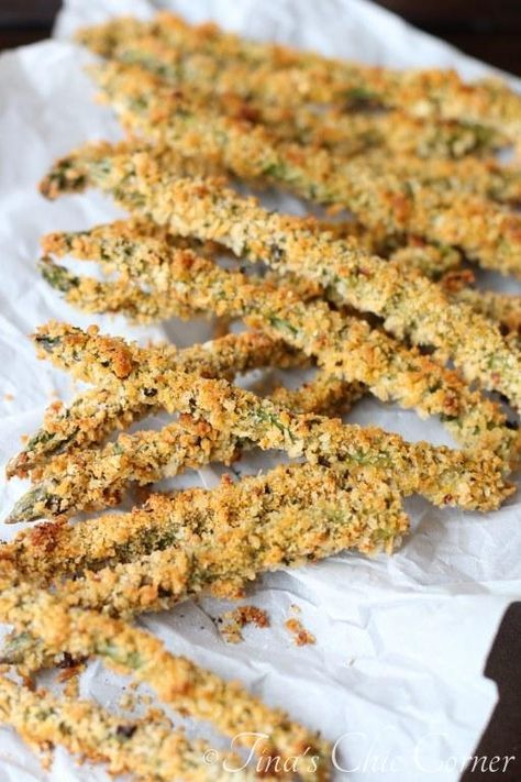 Spicy Baked Asparagus Fries (perfect for an appetizer, served warm or room temperature; healthy side dish; or simply to snack on) Full recipe