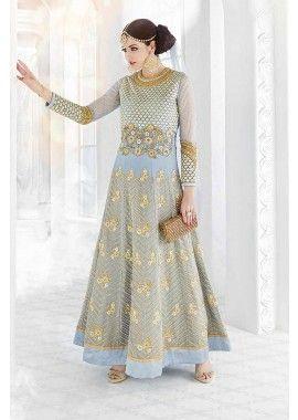 couleur bleu ciel georgette costume Anarkali