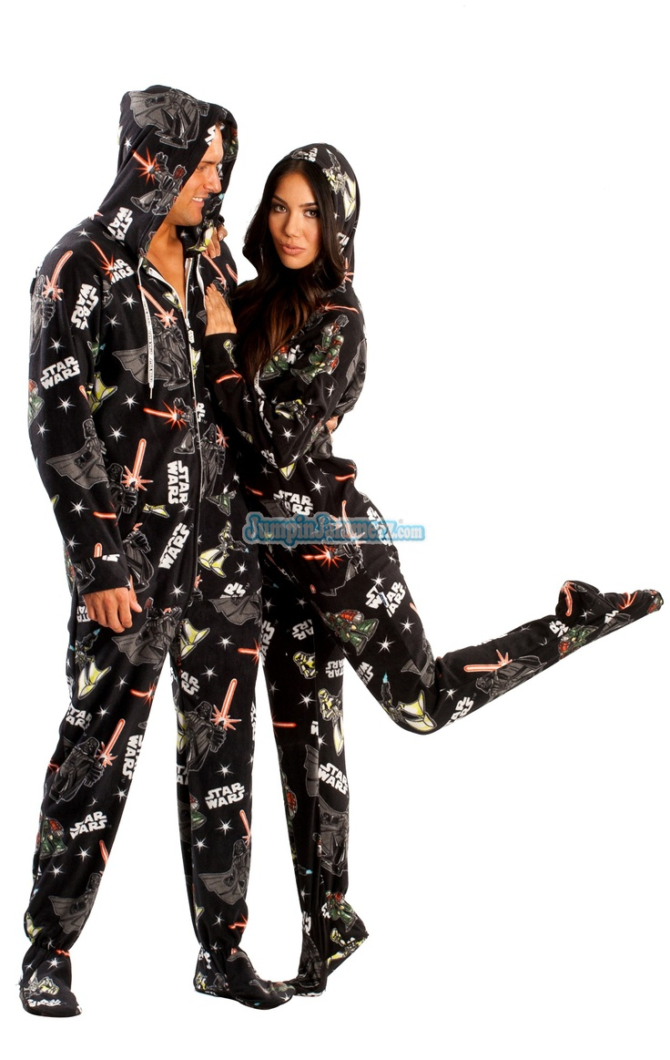 Star Wars Dark Side  $64.99      Star Wars Footed Pajamas -These Footies are loaded with extras featuring: Hoodies, thumb holes, logo zipper pull, front kangaroo pockets and a left shoulder iPhone pocket