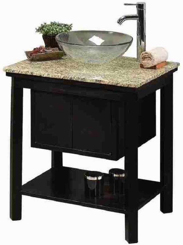 Vessel Sink Cream Granite Top Faucet Included Bathroom