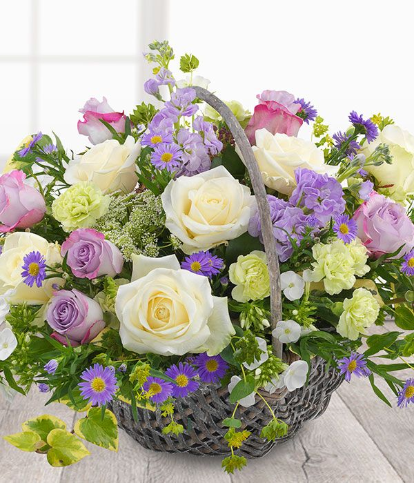 Country Garden Basket - lilac & white flower basket. Send flowers