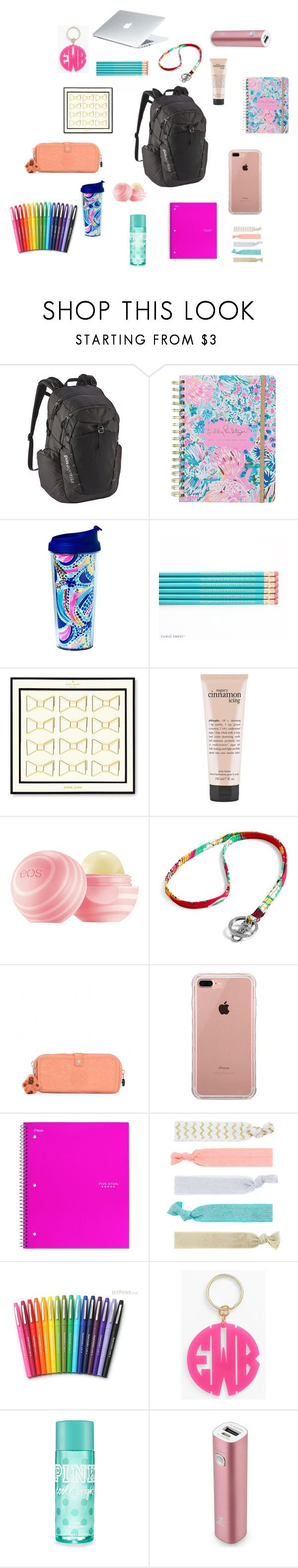 """""""College Book Bag"""" by trinitystover on Polyvore featuring Patagonia, Lilly Pulitzer, Kate Spade, philosophy, Vera Bradley, Kipling, Belkin, Accessorize, Paper Mate and Moon and Lola"""