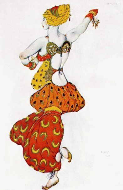 Léon Samoilovitch Bakst (10 May 1866 – 28 December 1924) was a Russian painter, scene and costume designer. He was a member of the Sergei Diaghilev circle and the Ballets Russes, for which he designed exotic, richly coloured sets and costumes. His paintings are just so vibrant and animated. You can really see and feel the dancers turning and leaping in his paintings.