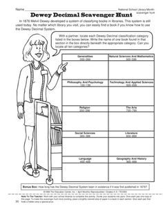 Dewey Decimal Scavenger Hunt, Lesson Plans - The Mailbox