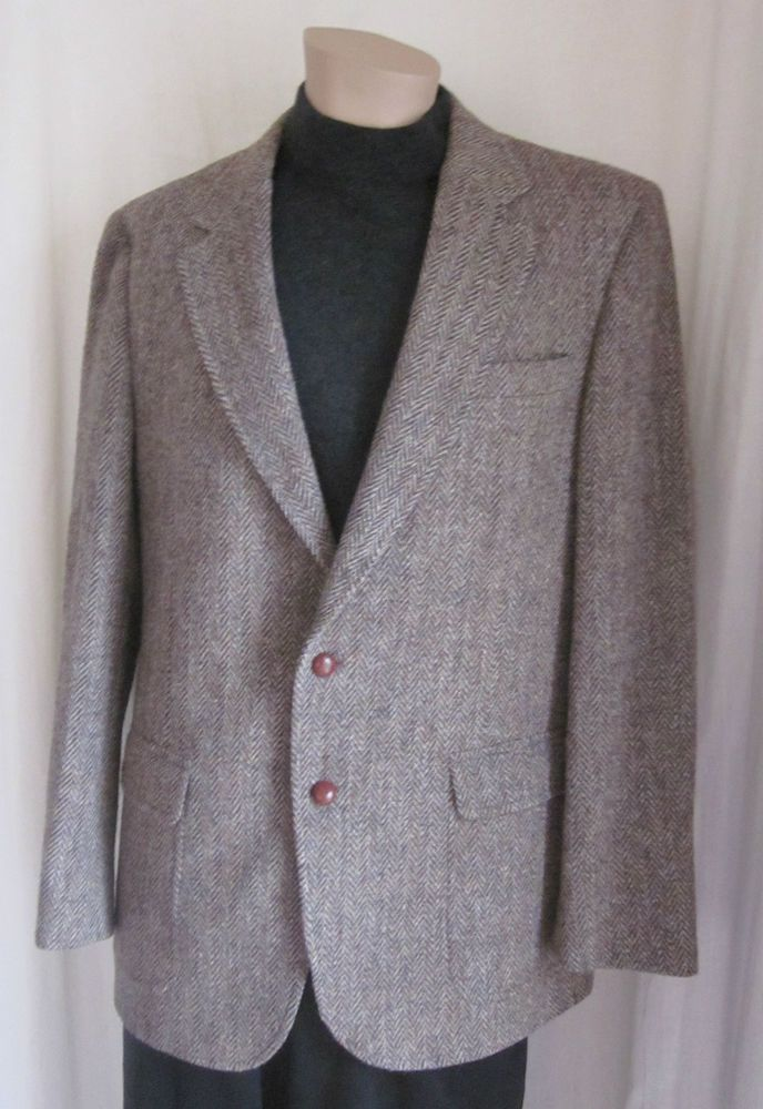 HARRIS TWEED Lord n Taylor Herringbone Handwoven 100% Scottish Wool 42R USA #HarrisTweedLordNTaylor #TwoButton