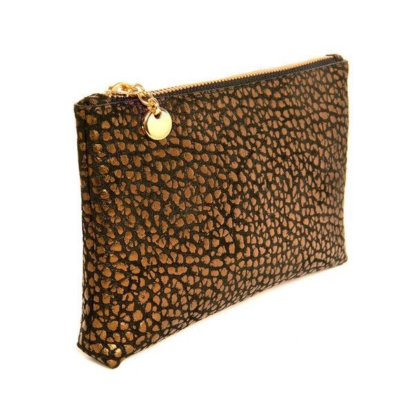 The Touch up Bronze Make up bag in calf leather