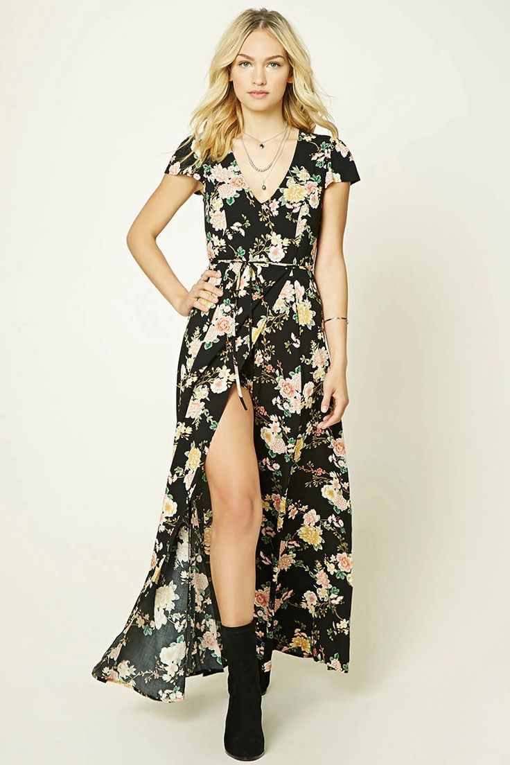 Forever 21 Contemporary - A woven romper featuring a maxi skirt overlay with a mock wrap front, an allover floral print, cap sleeves, a removable self-tie sash, and an invisible back zipper.
