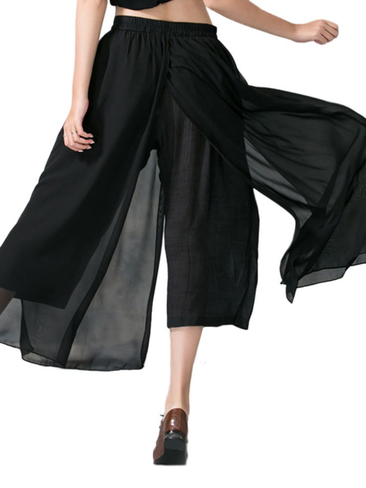 O-NEWE Plus Size Women Pure Color Chiffon Palazzo Pants