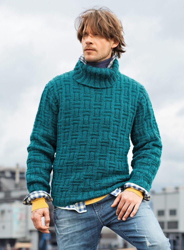 Herregenser med høy hals og strukturmønster. Strikk en skikkelig barsk genser til mannen. I denne vil han garantert holde seg varm i vinter.
