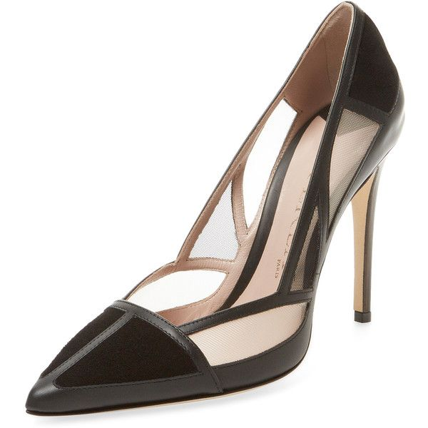 Aperlai Women's Caroline Leather Cut-Out Pump - Black, Size 35 ($349) ❤ liked on Polyvore featuring shoes, pumps, black, high heel pumps, pointy-toe pumps, high heel shoes, pointed toe high heel pumps and metallic pumps