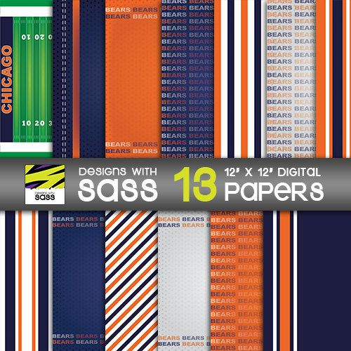 Digital Paper,Chicago Bears, Bears, Chicago, Papercraft, Football, NFL, Jamberry, Sports, Blue, Orange, Pattern, Commercial Use by DesignsWithSass on Etsy