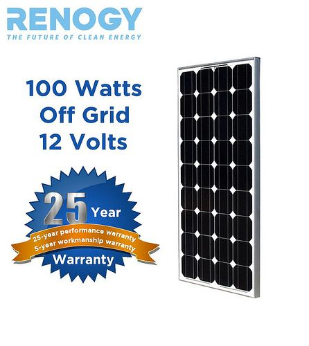 Monocrystalline solar panel products facts. http://www.cheap-solar-panels.net/monocrystalline-solar-panels.html RENOGY 100 Watt 100w Monocrystalline Photovoltaic PV Solar Panel Module 12V Battery Charging
