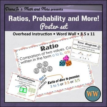 """Ratios, Probability, and More POSTER Set!A nice set of 10 posters that provides the definitions of each term along with an example of each.These can be used for hanging around the room or for instruction. All posters are 8 1/2"""" x 11"""" and print GREAT in BLACK AND WHITE!Whats included:11 8.5"""" x 11"""" posters     - Ratio     - Proportion     - Probability     - Rate and Unit Rate     - Combination     - Permutation     - Dependent Events     - Independent Events     - Tree Diagram…"""
