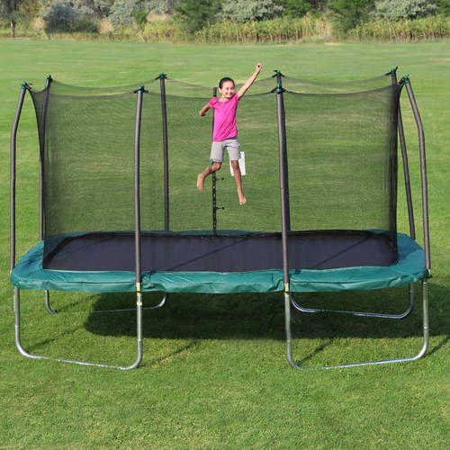 SKYWALKER TRAMPOLINES 14; X 8; RECTANGLE TRAMPOLINE AND ENCLOSURE - GREEN