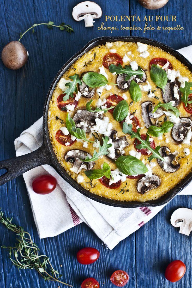 Polenta au four, champignons, tomates, feta and roquette.