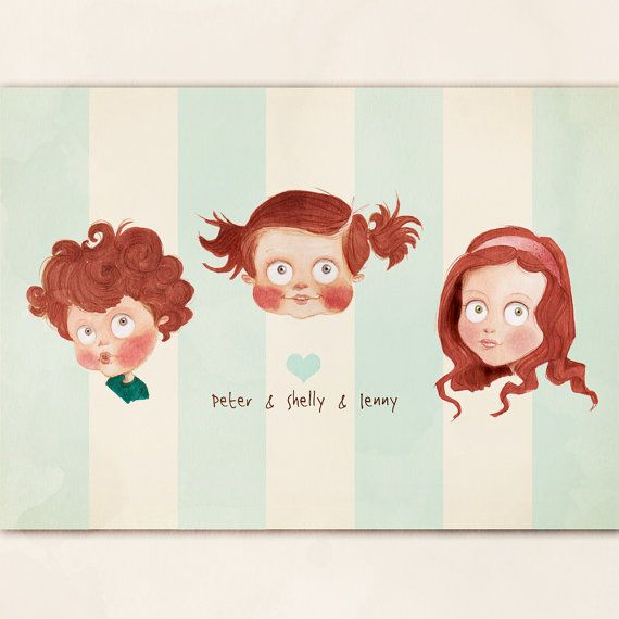 Three Sibling Custom Personalised Portrait by LittleMugPortraits