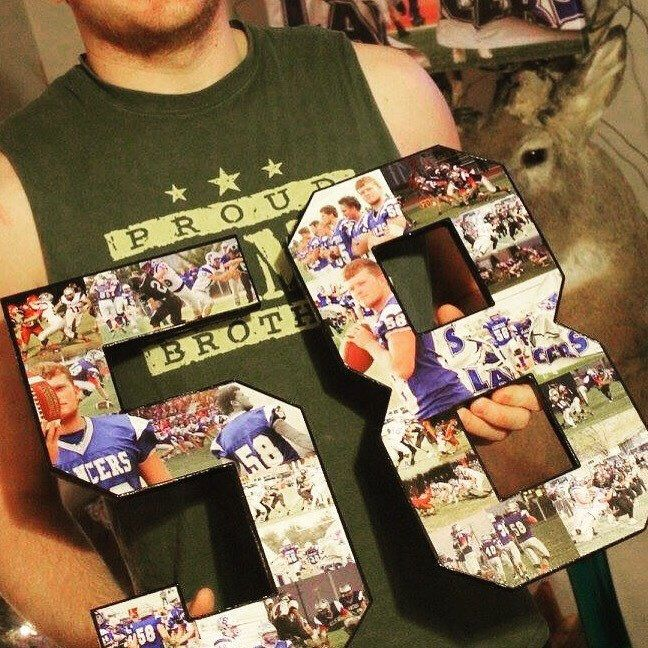 15 inch Photo Collage, grad gift, senior night gift, Wooden Numbers. Birthday collage, Custom made with your pictures. Black and White/color. Sports collage football collage football gift football keepsake sports keepsake senior night senior day senior recognition senior football player senior athlete