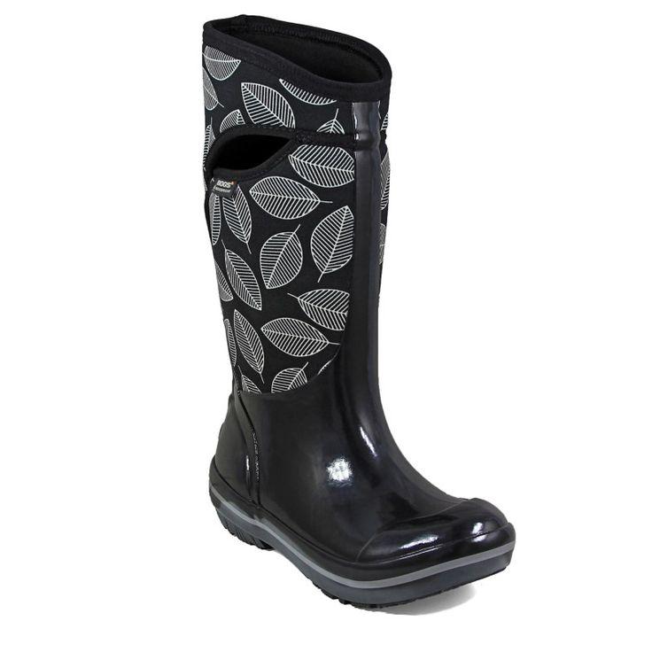 Bogs Women's Plimsoll Leafy Tall Waterproof Winter Boots (Black Multi)