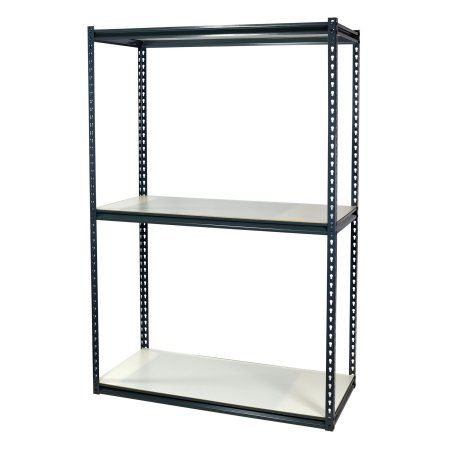 Storage Max Warehouse Shelving, 36L x 24W x 72H, Double Rivet Z-Beams Boltless, 3 White Laminated Particle Board Shelves