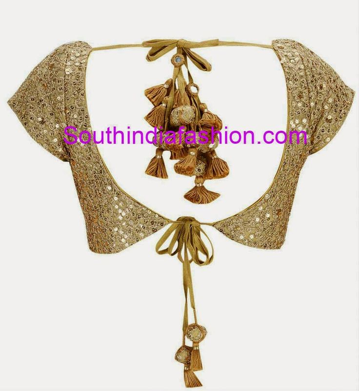 Beautiful gold color designer blouse with thread work and sequin work all over featuring sweetheart neckline on the front and open back neck with heavy heavy tie back tassels. Related PostsBeautiful Heavy Work BlouseFull Work Blouse for Wedding SareesTrendy Full Sleeves BlouseHigh Neck Raw Silk Blouse