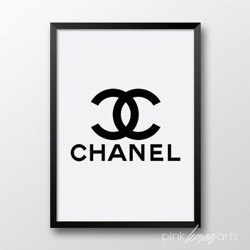 Chanel print, Printable chanel logo, Black chanel print, Coco Chanel, Fashion decor 252