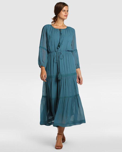 Vestido largo de mujer talla grande Couchel en color azul · Couchel · Moda · El Corte Inglés
