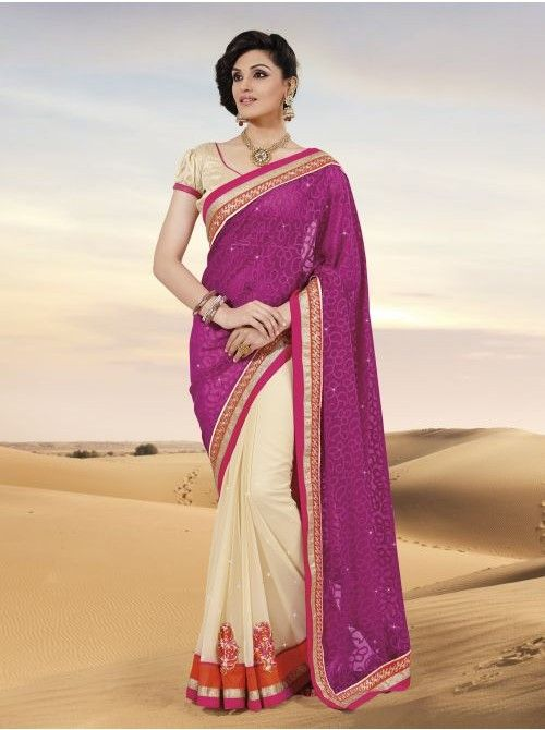 Pink and Chickoo Chiffon and Jacquard Half and Half Saree #Pink #Chiffon #HalfAndHalfSaree #BuySaree #Saree #Beautiful