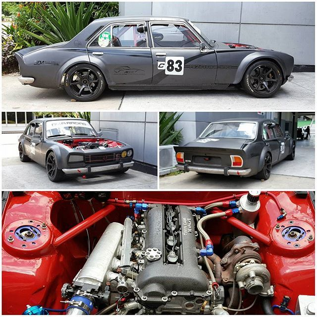The SR20DET can fit into just about anything, like this Niza Racing Peugeot 504 racecar that enters the Malaysian classic car series. #peugeot #504 #sr20 #sr20det #nissan #jdm #jdmculture #racecar #sepangcircuit #nizaracing