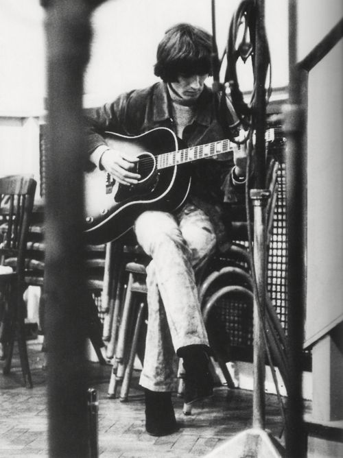 George during the recording of the Rubber Soul album