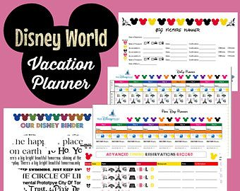 Disney World Vacation Planner Binder Set for 9 Day Trip/Instant Download/Editable PDF/Customizable Organization