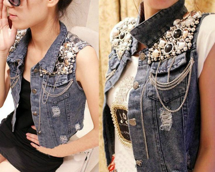 Denim vest refashion. I don't think I'd do this but I love the idea  (I think using this idea but with steampunk style would be awesome FMTK)