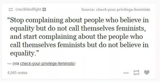 If all you want is personal rights and not equal rights for everyone, you're not a feminist.
