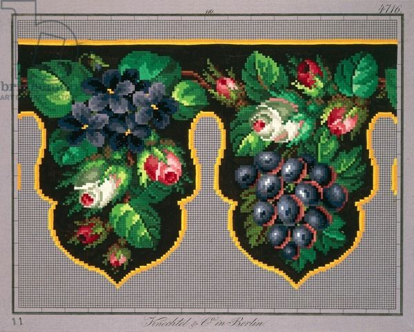 Pelmet pattern with roses, violets and grapes, 19th century